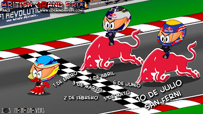 Комикс Los MiniDrivers: Фернандо Алонсо, Себастьян Феттель и Марк Уэббер на Гран-при Великобритании 2011