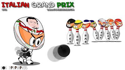 Витантонио Льюцци играет в боулинг в первом повороте Монцы на Гран-при Италии 2011 Los MiniDrivers