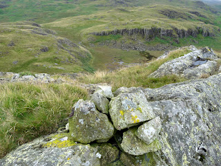 Looking steeply down from Kepple Crag.