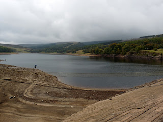 Errwood Reservoir from the Dam - very low water level