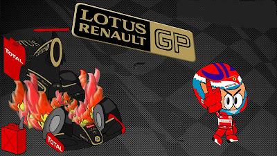 Виталий Петров и горящий Lotus Renault