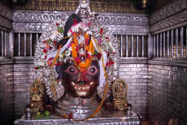 Akash Bhairav statue at a temple in Kathmandu