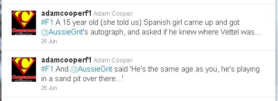 Адам Купер в твиттере о Марке Уэббере и Себастьяне Феттеле на Гран-при Европы 2011