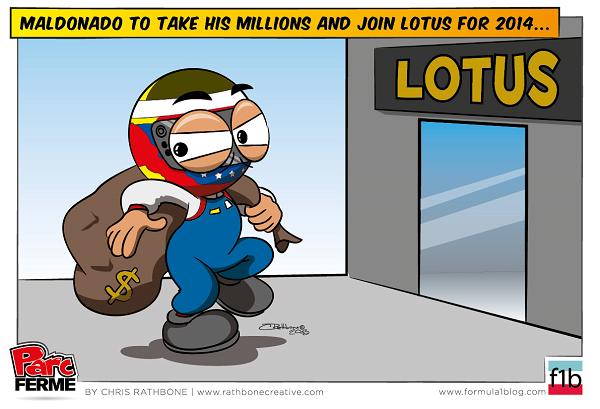 Пастор Мальдонадо забирает свои миллионы в Lotus - комикс Chris Rathbone