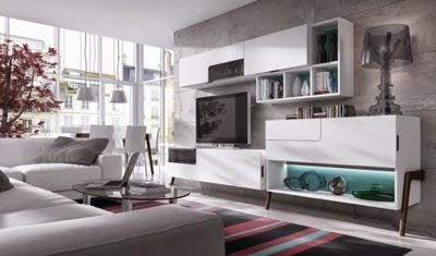 mueble salón con patas blanco