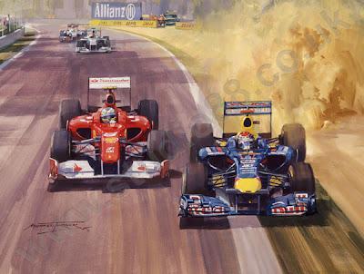 Себастьян Феттель и Фернандо Алонсо на Гран-при Италии 2011 - арт Michael Turner