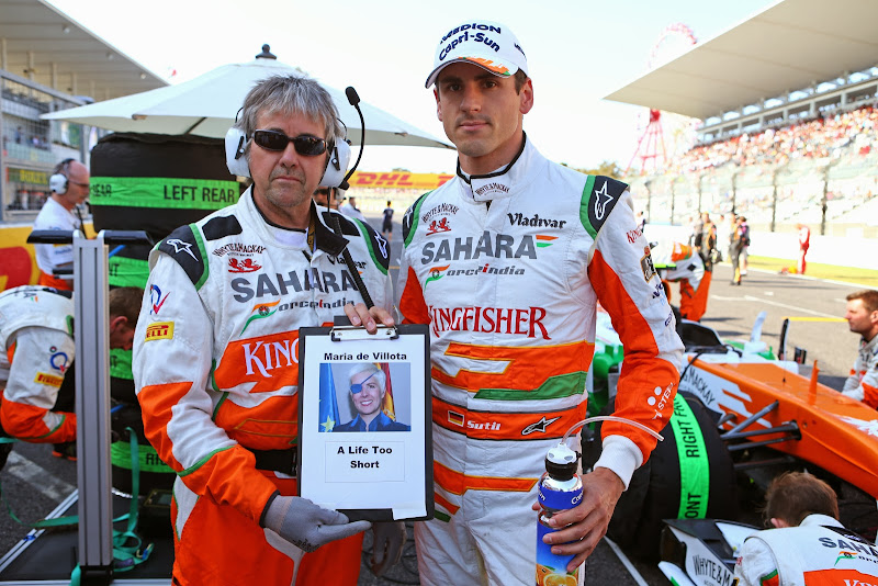 A Life Too Short - в память о Марии де Вильоте от Нила Дики на стартовой решетке Гран-при Японии 2013
