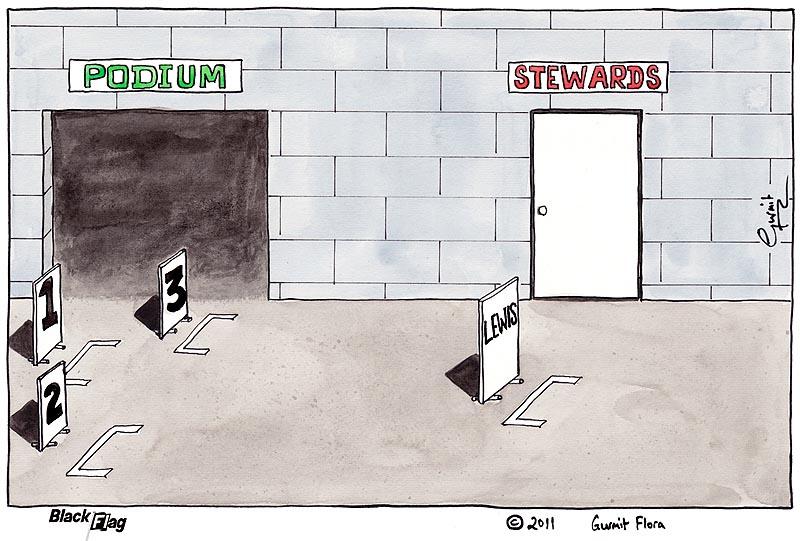 подиум и стюарды ждут Льюиса Хэмилтона - комикс Black Flag