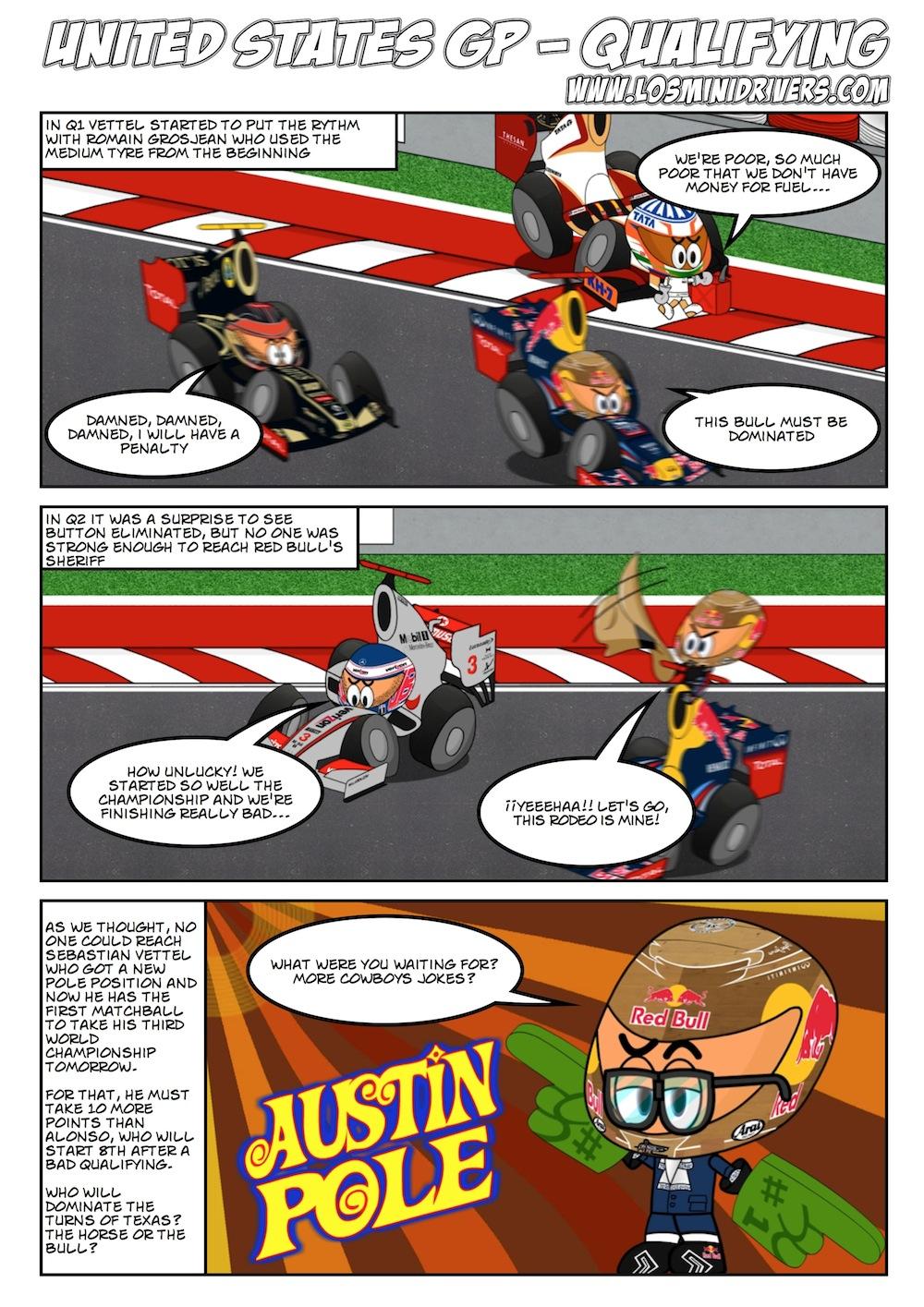 комикс Los MiniDrivers по квалификации на Гран-при США 2012
