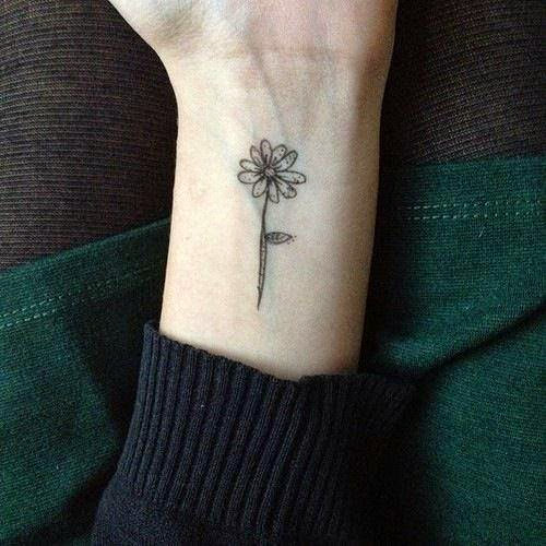 Small And Cute Aster Flower Tattoo Design On Wrist Tattowmag