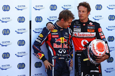 Себастьян Феттель и Дженсон Баттон после квалификации на Гран-при Монако 2011