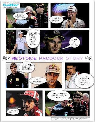 пилоты поют - фотокомикс Westside Paddock Story от F1Cartoonz