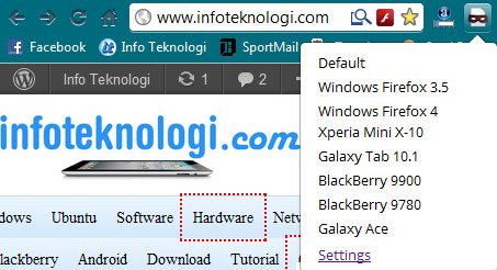 merubah user agent di chrome browser