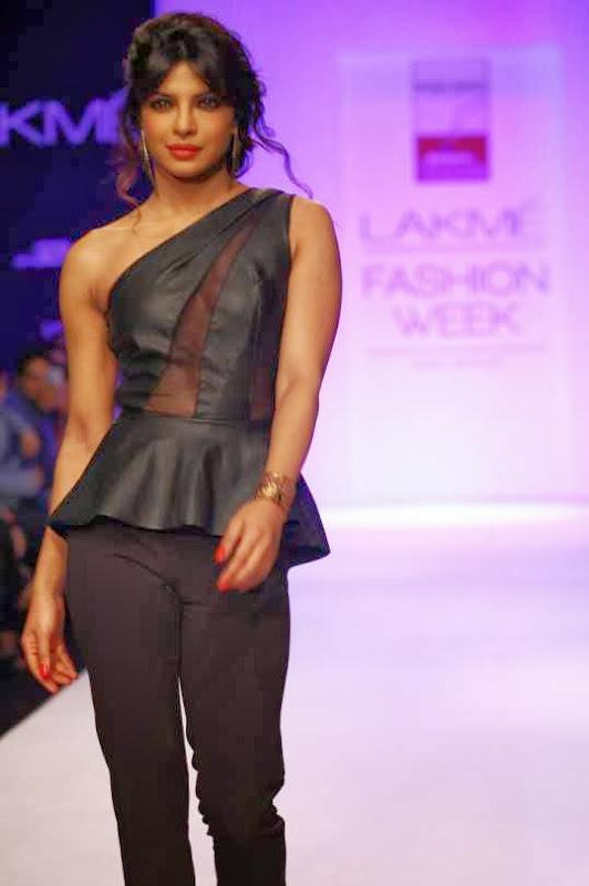 Lakme India Fashion Week - Sleek Pulled Back Hair and Night Lips worn by Priyanka Chopra