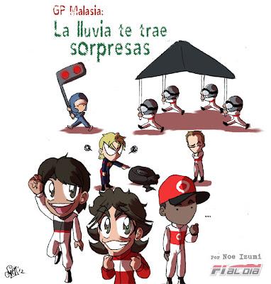 анимешная картинка Noe Izumi про дождевой Гран-при Малайзии 2012