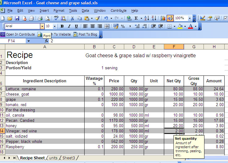 Excel food cost recipe template recipe costing sheet forumfinder Choice Image