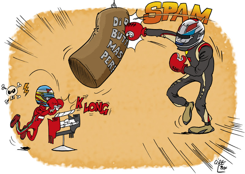 Ромэн Грожан сражается за подиум - Фернандо Алонсо с DRS - комикс Cirebox по Гран-при Бахрейна 2013