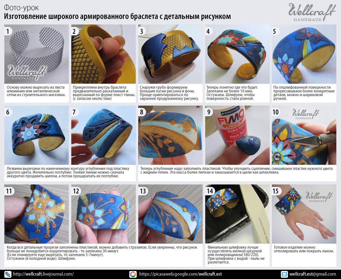 Изготовление браслетов из полимерной глины мастер класс