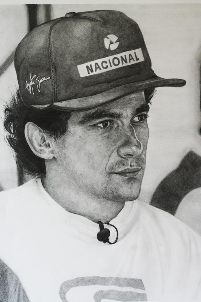 Айртон Сенна - черно-белый рисунок SKPortraitArt
