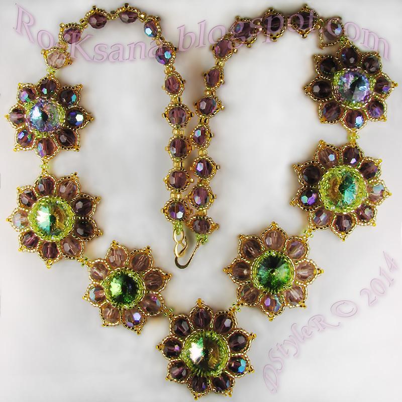 """Beaded necklace with Swarovski rivoli & crystals """"Royal Amethyst Flowers"""" Колье из бисера с риволи Сваровски и хрустальными бусинами """"Королевский аметист"""""""