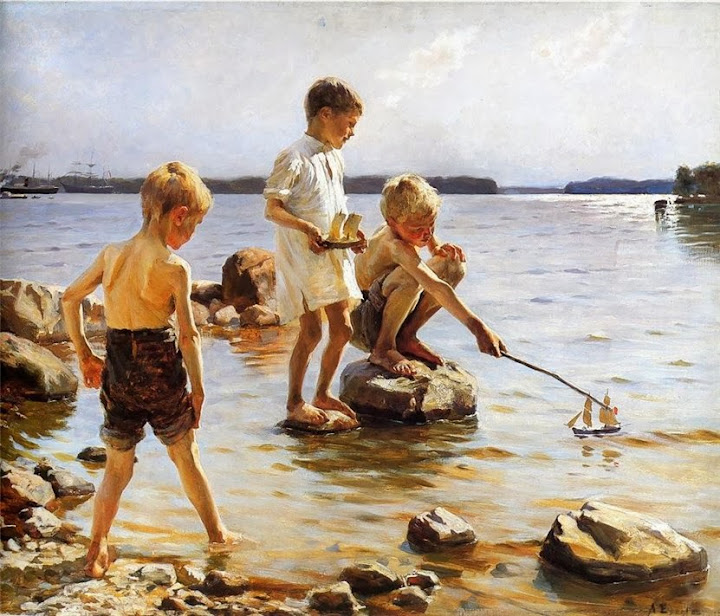Albert Edelfelt - Boys playing in the water