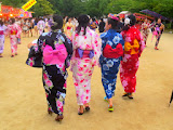 Women wearing traditional yukata at the Ohori Fireworks Festival