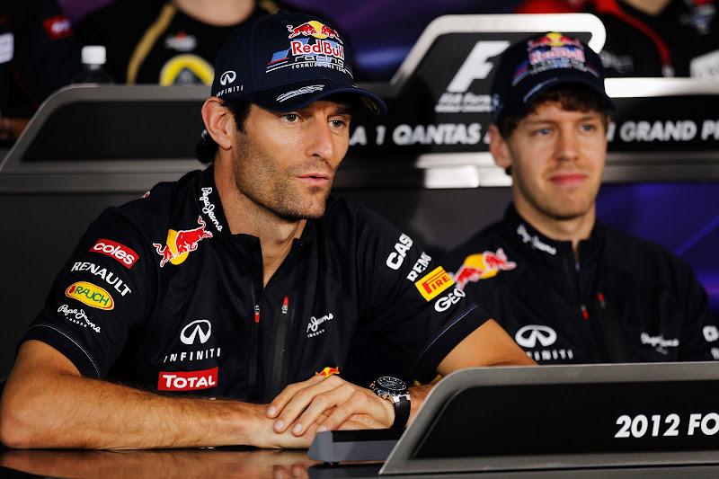 Марк Уэббер и Себастьян Феттель на пресс-конференции в четверг на Гран-при Австралии 2012