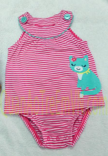 Bodysuit bé gái dạng váy hàng xuất made in cambodia, hiệu Carter, mẫu mèo.