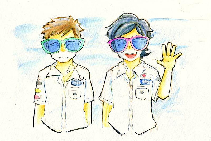 анимешные Камуи Кобаяши и Серхио Перес в больших очках на Гран-при Европы 2012