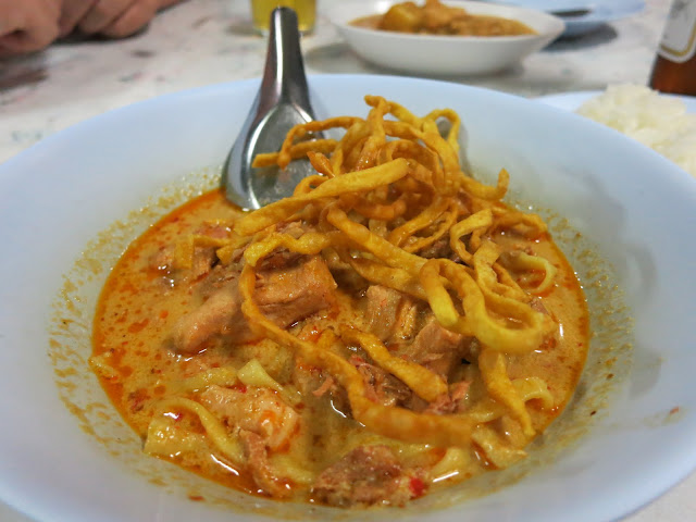 Delicious khao soi - a Burmese influenced dish popular in northern Thailand.