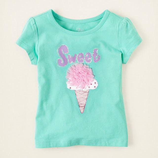 Áo thun bé gái Place, hàng xuất xịn, made in Cambodia, màu xanh hình cây kem.