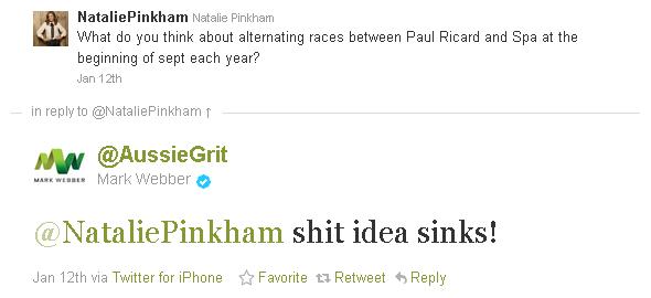 Марк Уэббер отвечает Натали Пинкхэм в твиттере по поводу чередования гонок в Поль Рикаре и Спа