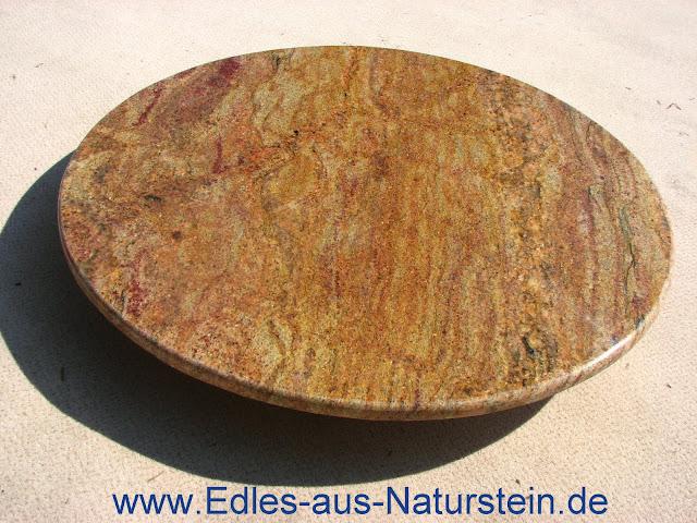 Naturstein couchtischplatte 80cm rund tischplatte granit for Tischplatte rund marmor