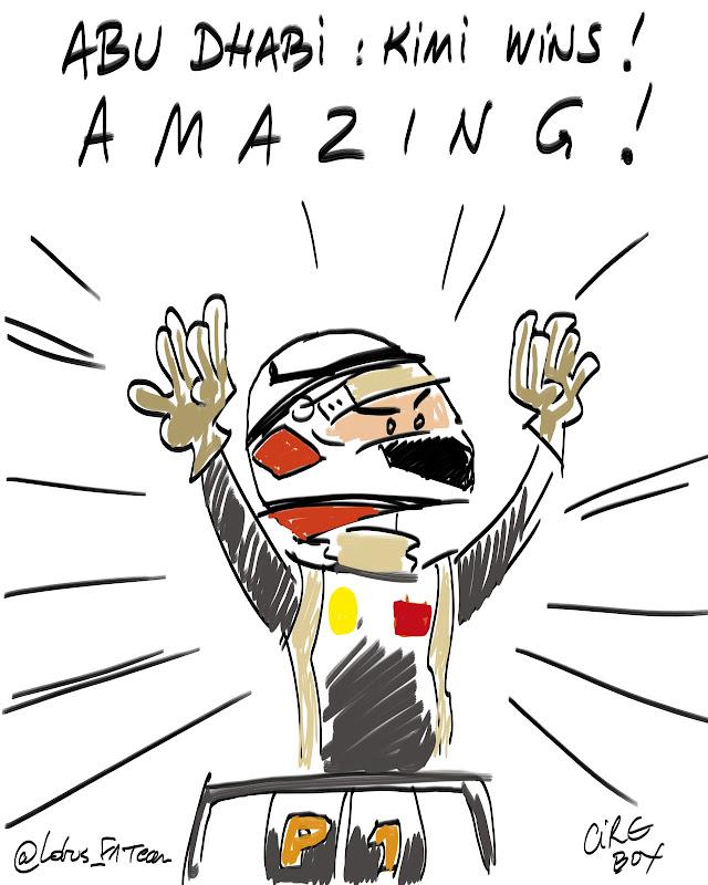 Кими Райкконен выигрывает за Lotus - лайв комикс Cirebox на Гран-при Абу-Даби 2012