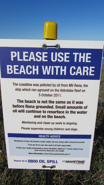 Warning sign about the MV Rena wreck near Tauranga.