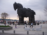 "Trojan horse used in the film ""Troy"" parked on the waterfront in Canakkale"