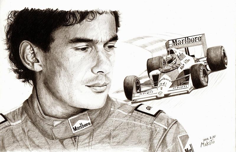 Айртон Сенна McLaren - карандашный рисунок от Makoto