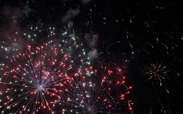 Great Fireworks show at Chinese New Year Open House in Taiping, Malaysia