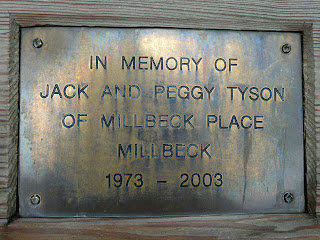 Plaque on bench in Millbeck