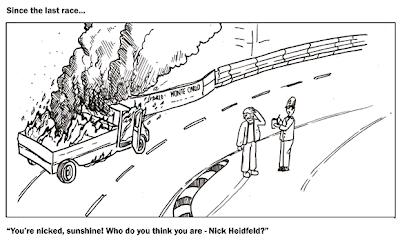 горящий грузовик на Гран-при Монако 2011 комикс Stuart Taylor