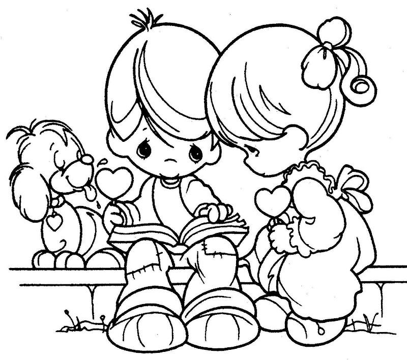 Kinder-Lesung im Park - kostenlos kostbaren Momente Malvorlagen