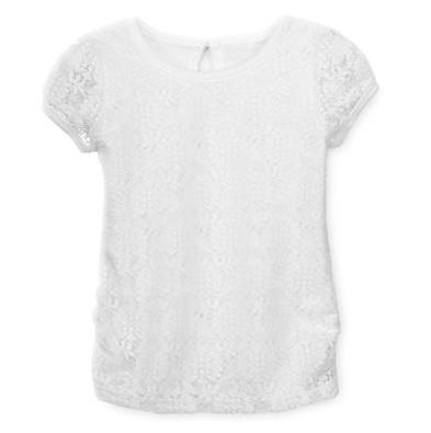 Áo bé gái Lace ren Arizona made in vietnam, màu trắng.