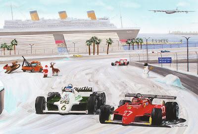 Легендарный Жиль Вильнев на турбированном Ferrari 126C2 защищает свою позицию от атак будущего чемпиона Кеке Росберга на Williams FW07c на Гран-при США 1982 в Лонг-Бич