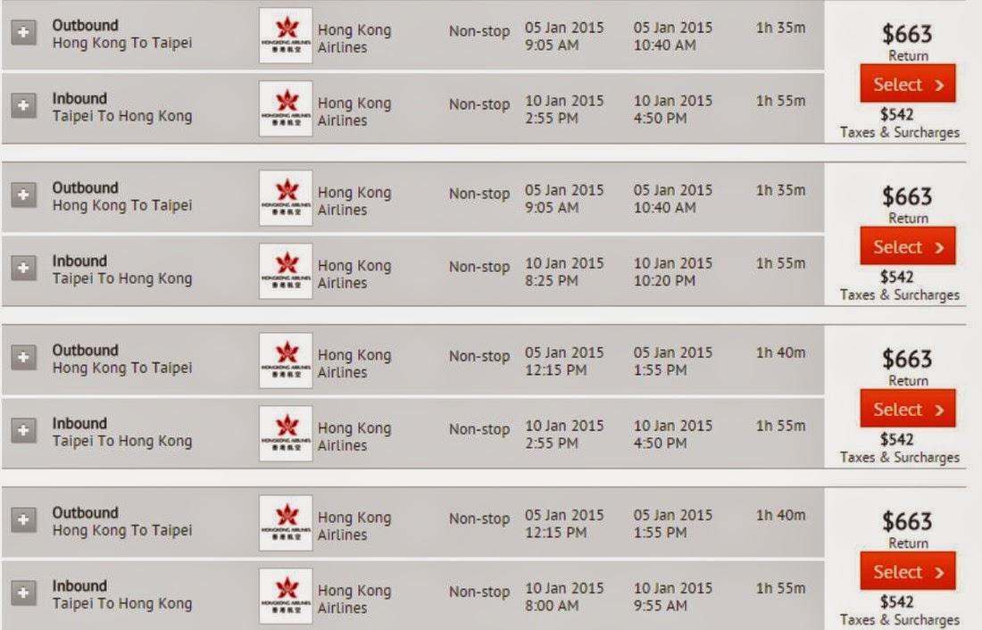 香港往來 台北 $633起 (連稅$1,205)-HK Airlines
