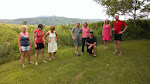People assembing for the group photo, CBBC camping weekend in Bethel, Maine