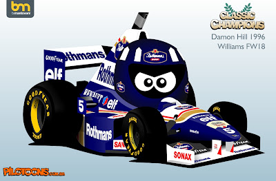 Деймон Хилл 1996 Williams FW18 - комикс pilotoons
