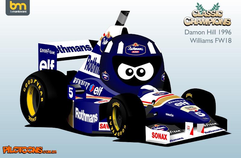 Деймон Хилл 1996 Williams FW18 - комикс pilotoons