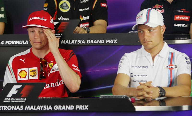 Кими Райкконен и Вальтери Боттас на пресс-конференции в четверг на Гран-при Малайзии 2014