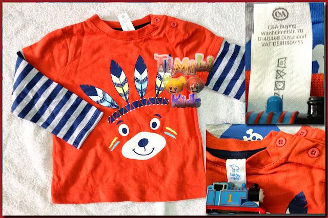 Áo thun bé trai tay dài hiệu babyclub, hàng xuất made in cambodia, màu cam.