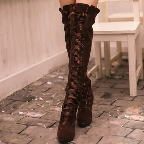Fashion Womens Lace-up High Heels Over Knee-high Boots Round Toe ...